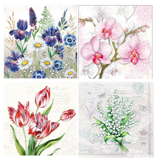 DECOUPAGE AND ACCESSOIRES 4 x 2 designer napkin, flowers