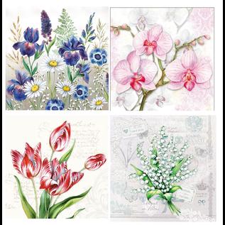 DECOUPAGE AND ACCESSOIRES 4 x 2 designer servetten, bloemen