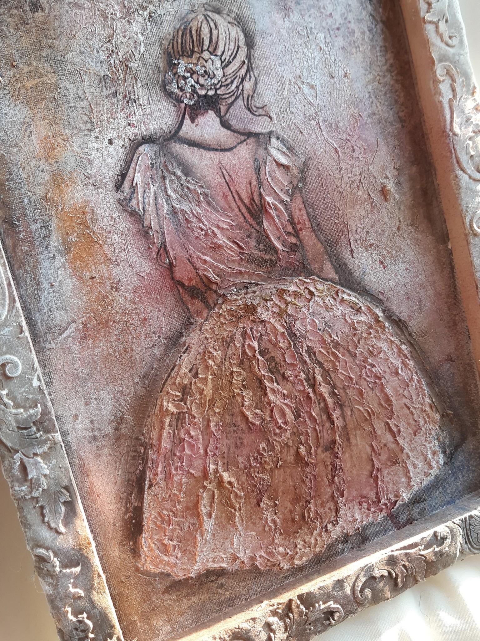 Mein Bild auf der innenseite vom Leinwand mit Spachtel, und Strukturpaste in Relieftechniek.