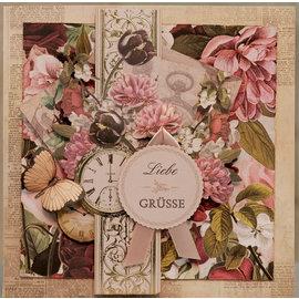 LaBlanche Papier design, 30,5 x 30,05 cm, imprimé des deux côtés, collage de fleurs