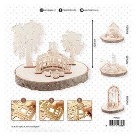 Holz, MDF, Pappe, Objekten zum Dekorieren Wedding decoration in wood: couple on a bridge