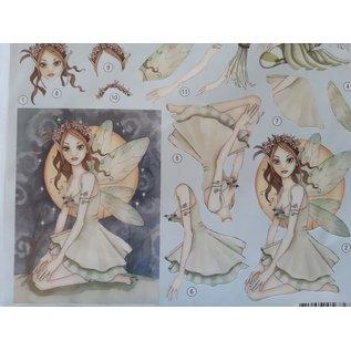 3D Stanzbogen: hübsche Elfen, Feen,  Märchenwesen