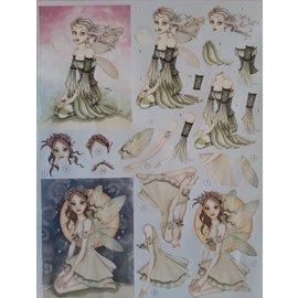 Feuille de poinçonnage 3D: jolis elfes, fées, contes de fées