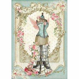 Stamperia und Florella Rice paper, A4, vintage, mannequin