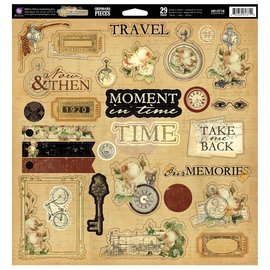 Prima Marketing und Petaloo Prima Markting, the Traverlers Memories, 29 Chipboard Teile