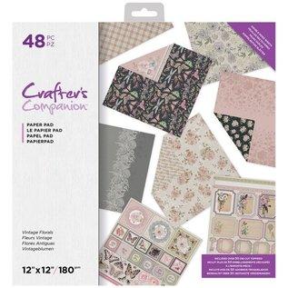 Crafter's Companion Exclusive! Vintage Florals 30.5 x 30.5 cm, 32 sheets, designer block!