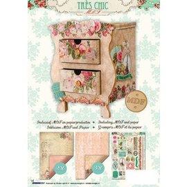 Holz, MDF, Pappe, Objekten zum Dekorieren Ensemble d'artisanat en MDF, commode + papier à motif rose et étiquettes