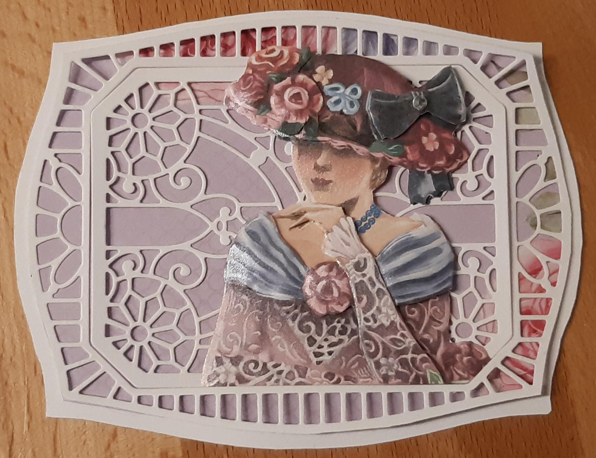 Eine hübsche Lady Karte mit Spellbinders Stanzschablone erstellt Artikelnr.