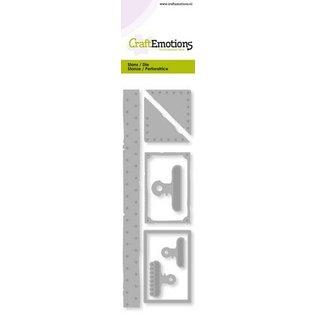 Crealies und CraftEmotions CraftEmotions, Stanzschablone, Vintage Label - Papierklammern- Nieten Card 5,0x16,0cm