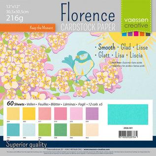 Designer Papier Scrapbooking: 30,5 x 30,5 cm Papier Florence, Cardstock glad, 30,5x30,5cm, 60 vellen! 12x5