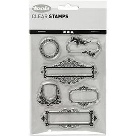 Stempel / Stamp: Transparent Silicone stamp, sheet 11x15.5 cm, 6 decorative frames / labels