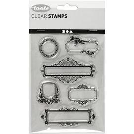 Stempel / Stamp: Transparent Silikonstempel, ark 11x15,5 cm, 6 dekorative rammer / etiketter