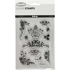Stempel / Stamp: Transparent Silikonstempel, Blatt 11x15,5 cm, Rosen für die Ewigkeit
