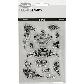 Stempel / Stamp: Transparent Timbro in silicone, foglio 11x15,5 cm, rose per l'eternità