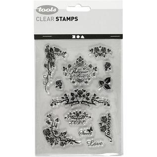 Stempel / Stamp: Transparent Silikonstempel, ark 11x15,5 cm, roser i evigheden
