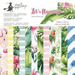 Karten und Scrapbooking Papier, Papier blöcke NIEUW! Papieren blok motief flamingo formaat ca. 15,3 x 15,3cm bedrukking dubbelzijdig 24 vellen plus 2 omslagvellen 240 g