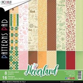 Karten und Scrapbooking Papier, Papier blöcke Blocco di design, Neverland 30,5 x 30,5 cm, 16 disegni con copertina, (8 stampati su entrambi i lati)