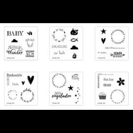 Craftemotions Frimærkesæt, gennemsigtige, forskellige (DE) tekststempler ved valg