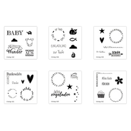 Craftemotions Frimerkesett, gjennomsiktige, forskjellige (DE) tekststempler i valg