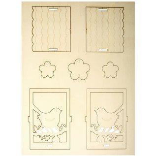 BASTELSETS / CRAFT KITS Houten knutselset vogelhuwelijk, 8,3x7,8x15,5cm, 19 stuks