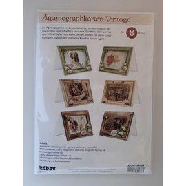 Juego de tarjetas artesanales: tarjetas de Agamograph vintage, 8 tarjetas + sobres