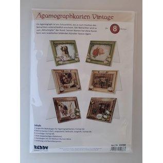 Craft kaartenset: Agamograph kaarten vintage, 8 kaarten + enveloppen