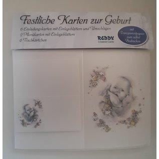 Set of birth cards: 6 invitation cards, 2 menu cards, 6 place cards LAST SETS!
