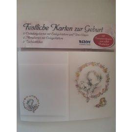 Karten Set zur Geburt: 6 Einladungskarten, 2 Menükarten, 6 Tischkarten  - LETZTE SETS!