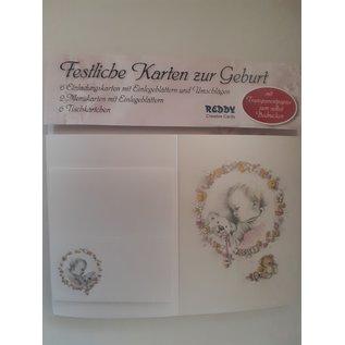 Set geboorte kaarten: 6 uitnodigingskaarten, 2 menukaarten, 6 plaatskaarten - LAATSTE SETS!