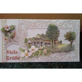 BASTELSETS / CRAFT KITS Fantastische knutselset, voor 12 kaarten, landhuizen!