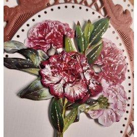Bilder, 3D Bilder und ausgestanzte Teile usw... 10 different 3D flower motifs, with glitter and in 220 gsm