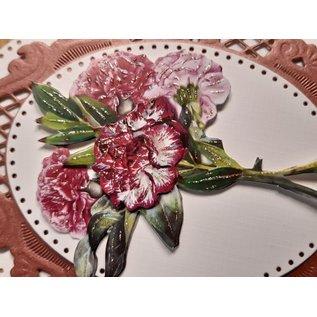 Bilder, 3D Bilder und ausgestanzte Teile usw... 10 verschillende 3D bloemmotieven, met glitter en in 220 g / m2