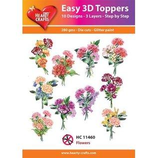 Bilder, 3D Bilder und ausgestanzte Teile usw... 10 forskellige 3D-blomstermotiver, med glitter og i 220 gsm