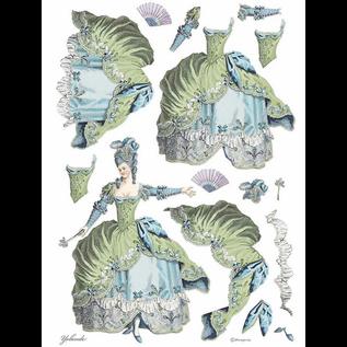 Stamperia, carta di riso, A3 Lady Green