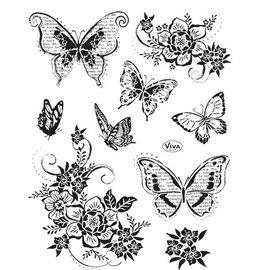 VIVA DEKOR (MY PAPERWORLD) Viva Decor, stempelmotieven set: vlinders, 14 x 18 cm