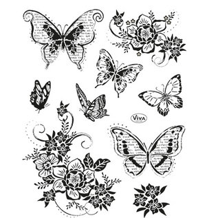VIVA DEKOR (MY PAPERWORLD) Viva Decor, set motivo timbri: farfalle, 14 x 18 cm