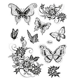 VIVA DEKOR (MY PAPERWORLD) Viva Decor, stempelmotiefset: vlinders, 14 x 18 cm