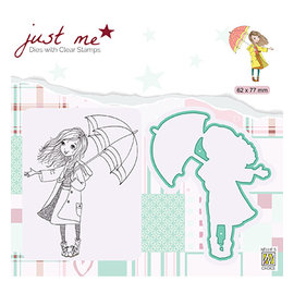 "Nellie Snellen Stamp + punching template, ""Just Me Autumn weather"""