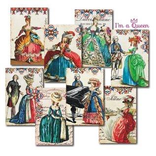 decorer Decorateur, in een koningin, papieren set, 7x10.8 cm