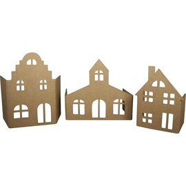 Ensemble papier mâché - Façade village, serti de 3 maisons!