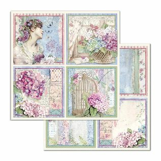 Stamperia und Florella Craftlines, Stamperia, Hortensia, 20 x 20 cm, papirsæt
