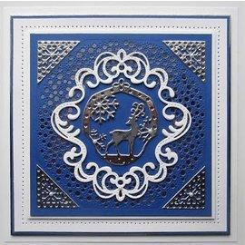 CREATIVE EXPRESSIONS und COUTURE CREATIONS Stanzschablonen Weihnachten Ornament mit Rentier,  10,6 x 11,5 cm