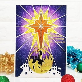 Crafter's Companion Sjablong, sjablong av plast, 12,7 x 17,7 cm, Nativity The Brightest Star