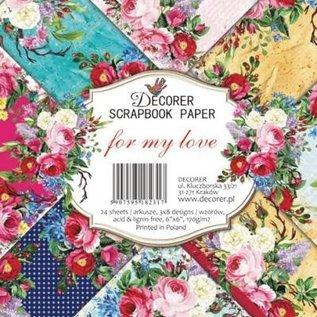 decorer For min kærlighed, 15x 15 cm, papirsæt