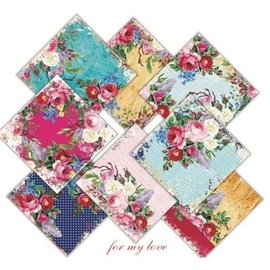 decorer Pour mon amour, 15x 15 cm, set de papier