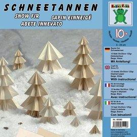 BASTELSETS / CRAFT KITS Håndverkssett, juletrær, 10 ark, 30 x 30 cm, 125 gr. Elefantskinn, beige, hvit