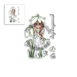 """Polkadoodles  Stamp motif, """"Snowdrop Darling Bud"""" Clear Stamp"""