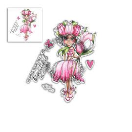 """Polkadoodles  Frimærke motiv, """"Tulip Darling Bud"""" Clear Stamp"""