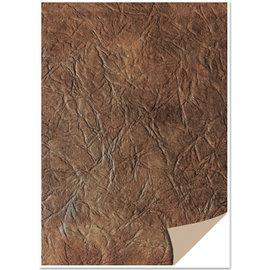 Karten und Scrapbooking Papier, Papier blöcke 5 feuilles de carton, aspect cuir, marron foncé