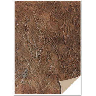 Karten und Scrapbooking Papier, Papier blöcke 5 fogli di cartone, aspetto pelle, marrone scuro